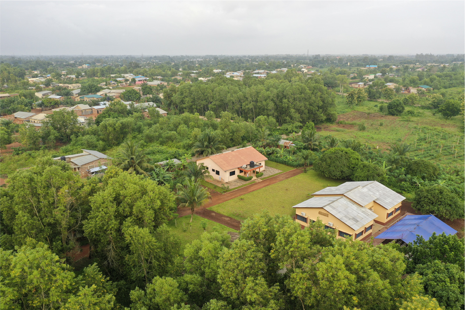 drone shot of the campus